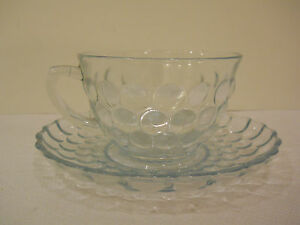 ANCHOR-HOCKING-FIRE-KING-GLASS-BLUE-BUBBLE-BULLSEYE-PROVINCIAL-CUP-SAUCER-PLATE