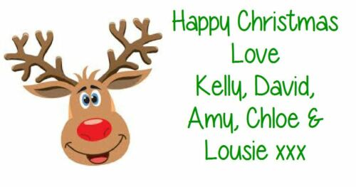 Christmas Label Personalised Xmas Labels Stickers Gift Address Party REINDEER
