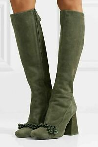 Tory-Burch-Addison-Suede-Boxwood-Olive-green-Chain-trimmed-Knee-Boots-US10