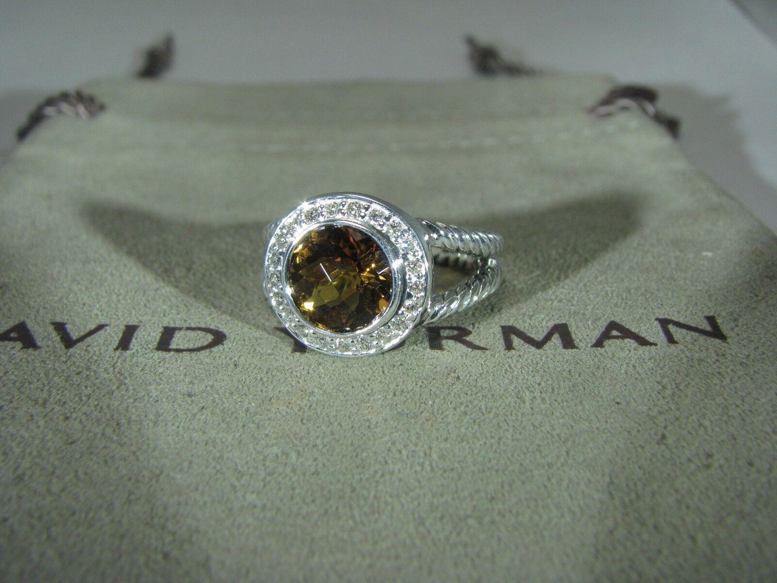 AUTHENTIC DAVID YURMAN ALBION 8MM  CITRINE PAVE DIAMOND RING    SIZE  6