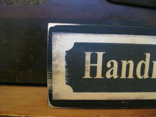 Handmade Quilts Vintage Inspired Primitive Rustic Wooden Sign Block Shelf Sitter