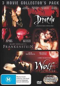 3-Movie-Collectors-Pack-Dracula-Frankenstein-Wolf-DVD-FREE-POST