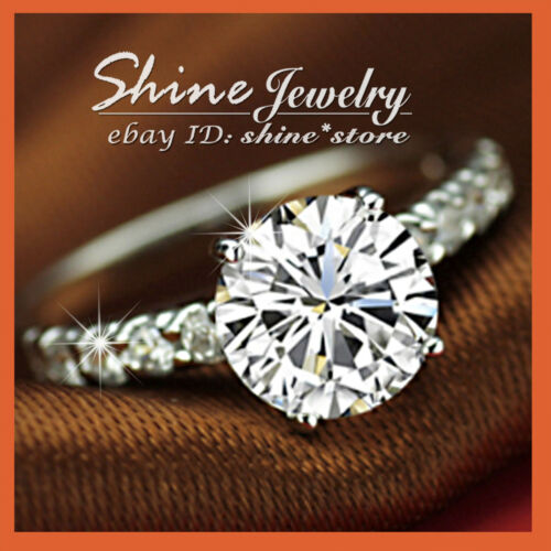 18K WHITE GOLD GF SOLITAIRE DIAMONDS PAVE CLAW ENGAGEMENT BRIDAL SOLID LADY RING