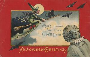 S21-1481-Vintage-Halloween-Postcard-E-C-Banks-Witch-Broom-Bats-1908