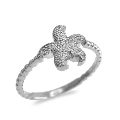 Fine 14k White Gold Textured Starfish Beaded Ring