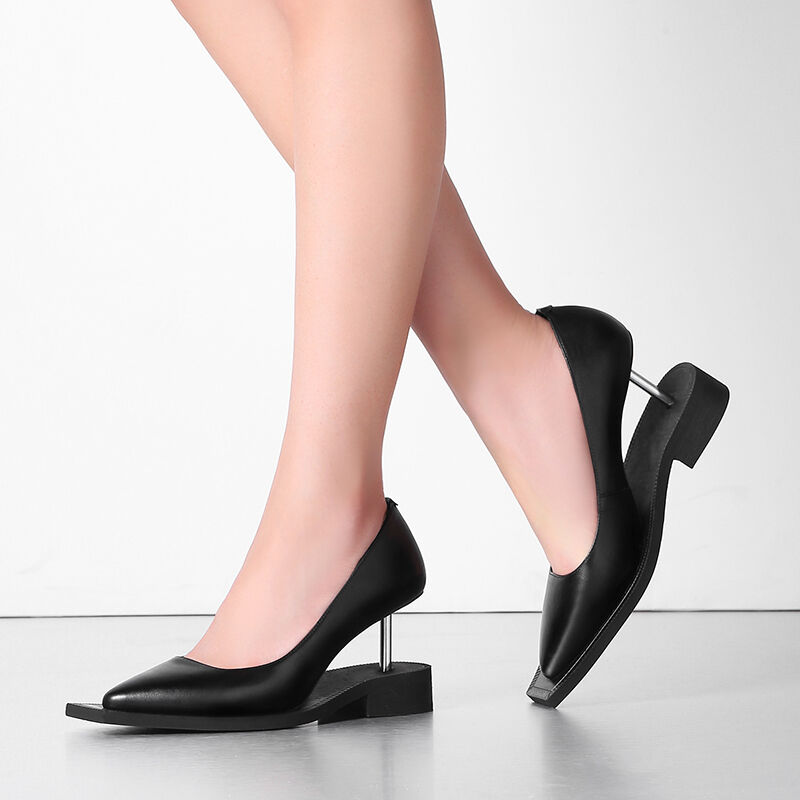 Avant garde women's pumps stilettos party slip on black leather high heel shoes