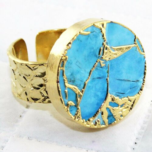 Designer Copper Mojave Turquoise Gold Plated Crocodile Textured Adjustable Ring