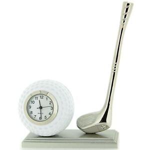 Miniature-Golf-Ball-amp-Club-Novelty-Collectors-Desktop-Clock-0370