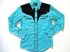 New Ralph Lauren RRL Blue & Black 100% Modal Western Long Button Up Shirt M