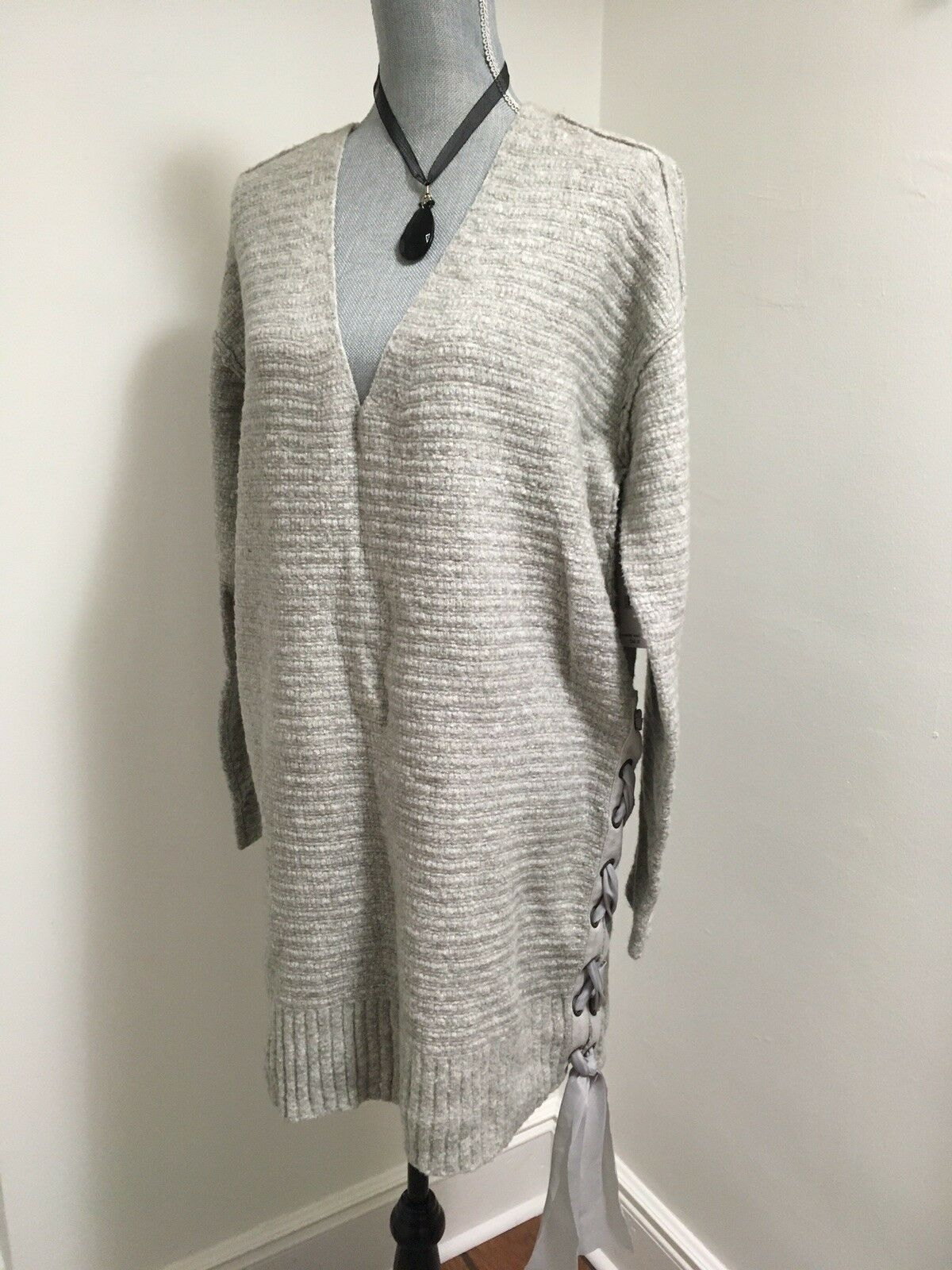 FREE PEOPLE Sz L Heart It Lace-Up Oversized Fit Sweater Grey Cotton Blend