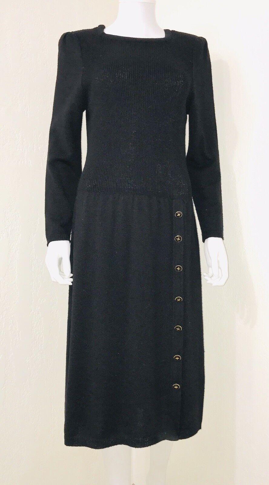 Vintage Tricots schwarz Ribbed Cap Sleeve Drop Waist Sweater Dress Größe 12 EUC
