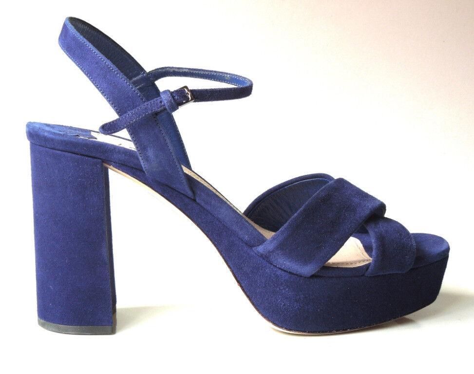 New  690 PRADA MIU MIU bluee suede open-toe ankle strap shoes 39.5 9.5