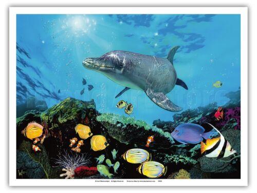 Shimmer Bay Shallows Hawaii Dolphin Vintage Original Painting Art Poster Print
