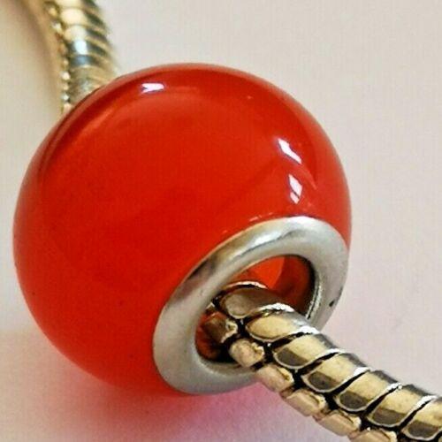 European style bead Orange cats eye