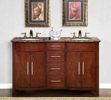 "58"" Granite Stone Countertop Double Bathroom White Sink Vanity Cabinet 221BB"