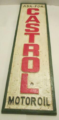 "Ask For CASTROL Motor Oil"" Vintage Cast Iron Sign 23/"" x 6.25/"""