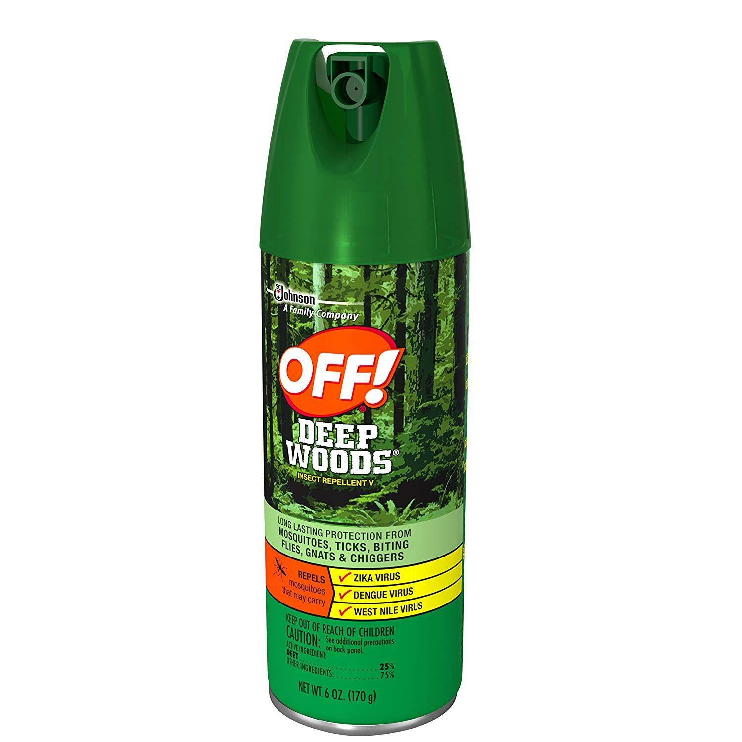 5x Cans OFF  Deep Woods Insect Mosquitoes Repellent - Long Lasting OFF Bugs 6oz