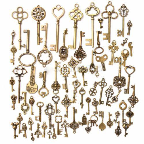 Set of 70 Antique Vintage Old LookBronze Skeleton Keys Fancy Heart Bow Pendant