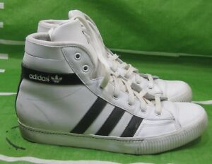 brand new cb5f2 cde60 Image is loading adidas-913907-Aditennis-Hi-Lux-WHITE-BLACK-STRAP-