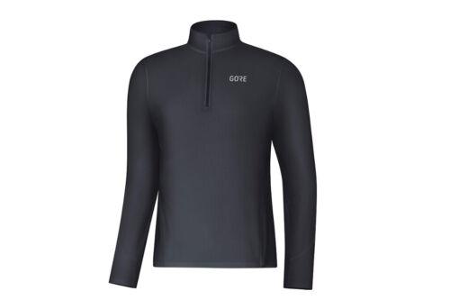 Gore R3 Lange Ärmel Schwarz Reißverschluss Shirt Herren Laufen Warm Top