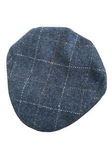 Genuine Harris Tweed Classic Flat Cap Blue Check 59cm 7 1 4 By Rheged Caps Uk Ebay
