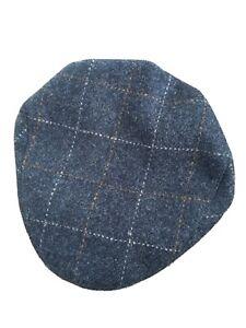 Genuine Harris Tweed Classic Flat Cap Blue Check 59cm 7 1 4 By Rheged Caps Uk Ebay