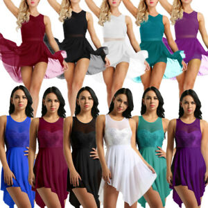 Women-Ladies-Sequins-Lyrical-Dress-Ballet-Leotard-Dance-Gymnastics-Dress-Costume