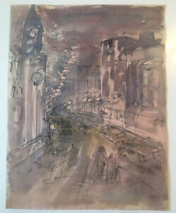 Emil-Hess-Signed-Cityscape-Original-Watercolor-8-x-10