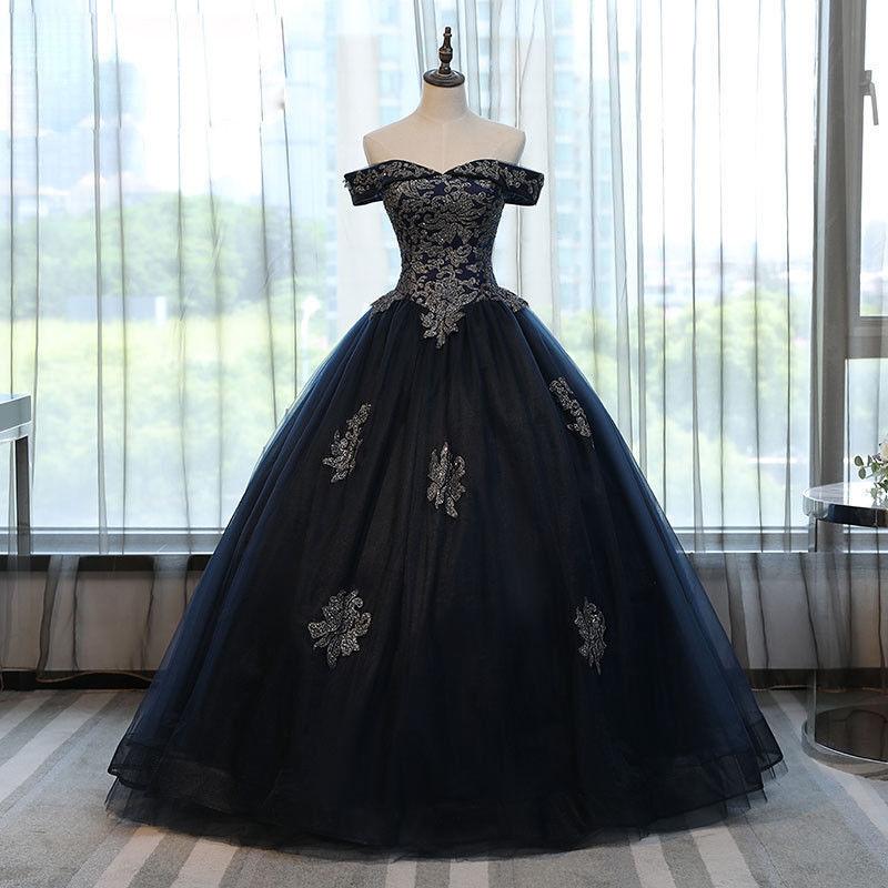 Schwarz   Silber Applikationen Ballkleid Quinceanera Kleid Pageant Prom Abendkle