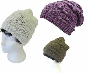 0cef28a59598a8 Image is loading Adults-Ladies-Pearl-Knit-Chunky-Knitted-Stitch-Slouch-