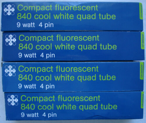 DEAL OF 3 Compact Fluorescent Lamps 9 Watt in Cool White 4 PIN QUAD TUBE 1 FREE
