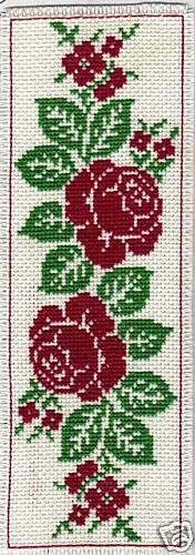 réf : 6506 MARQUE-PAGE Grille point de croix ROSES ANCIENNES