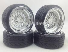 4x 1/10 BBS BMW STYLE WHITE CHROME RC DRIFT WHEEL TYRE SET 6mm OS / 12mm HEX NEW