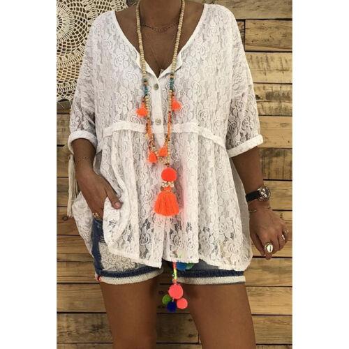 Damen Spitze Bluse Tunika Oberteile Tops Sommer Blusenhemd Hemdbluse Knopfshirt