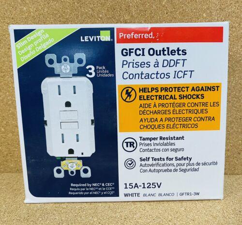Leviton 3 Pack Preferred GFCI Temper Resistant 15A-125V-White Outlet-Slim Design