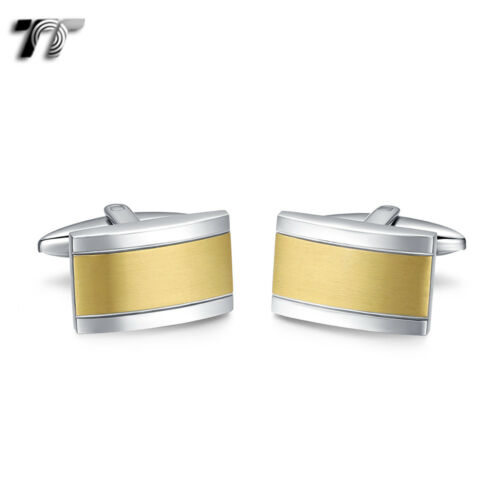 Elegant MENS TT Two-Tone Silver//Gold Stripe Stainless Steel Cufflinks CU58J NEW