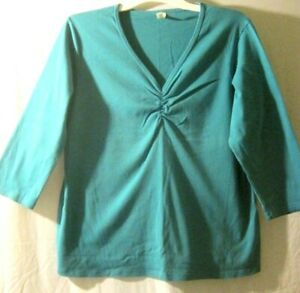 Halo-Size-XXL-Scrunch-Front-V-Neck-3-4-Sleeve-Length-Teal-Colored-Top