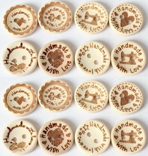 Hecho a mano con amor Madera Natural botones redondos hecha a mano con amor Coser 2cm