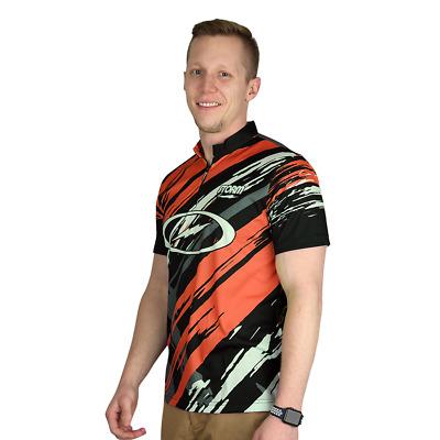 Storm Grunge Orange//Black Mens Bowling Shirt Jersey