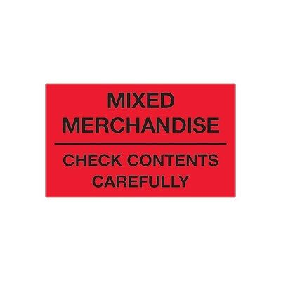 """Check Contents Carefully/""""/"""" Fluorescen /""""/""""Mixed Merchandise /""""Tape Logic Labels"""