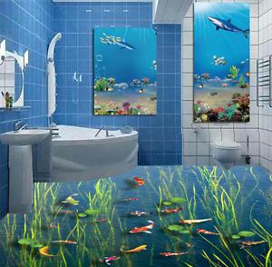 3D Estanque de Algas Peces 92 Papel de parojo de Piso Impresión De Parojo Murales AJ Wallpaper Reino Unido Limón