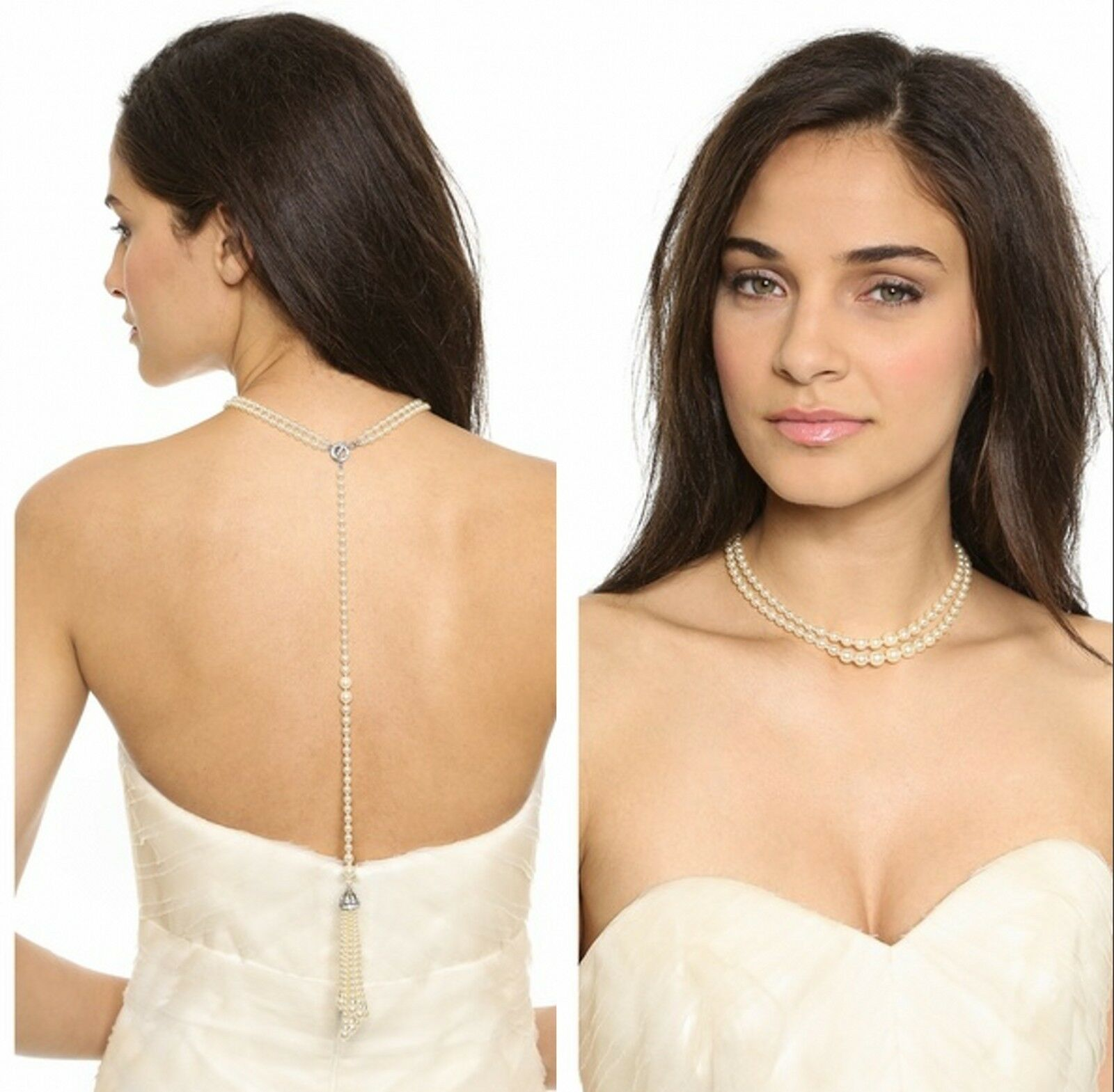 Halskette dos Perle Perlmutt Kleid golden Class Kristall Original Ehe Braut jd 3