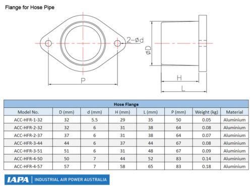 Side Channel Blower 4-Series Hose Flange 50mm Aluminium P//N ACC-HFR-4-50