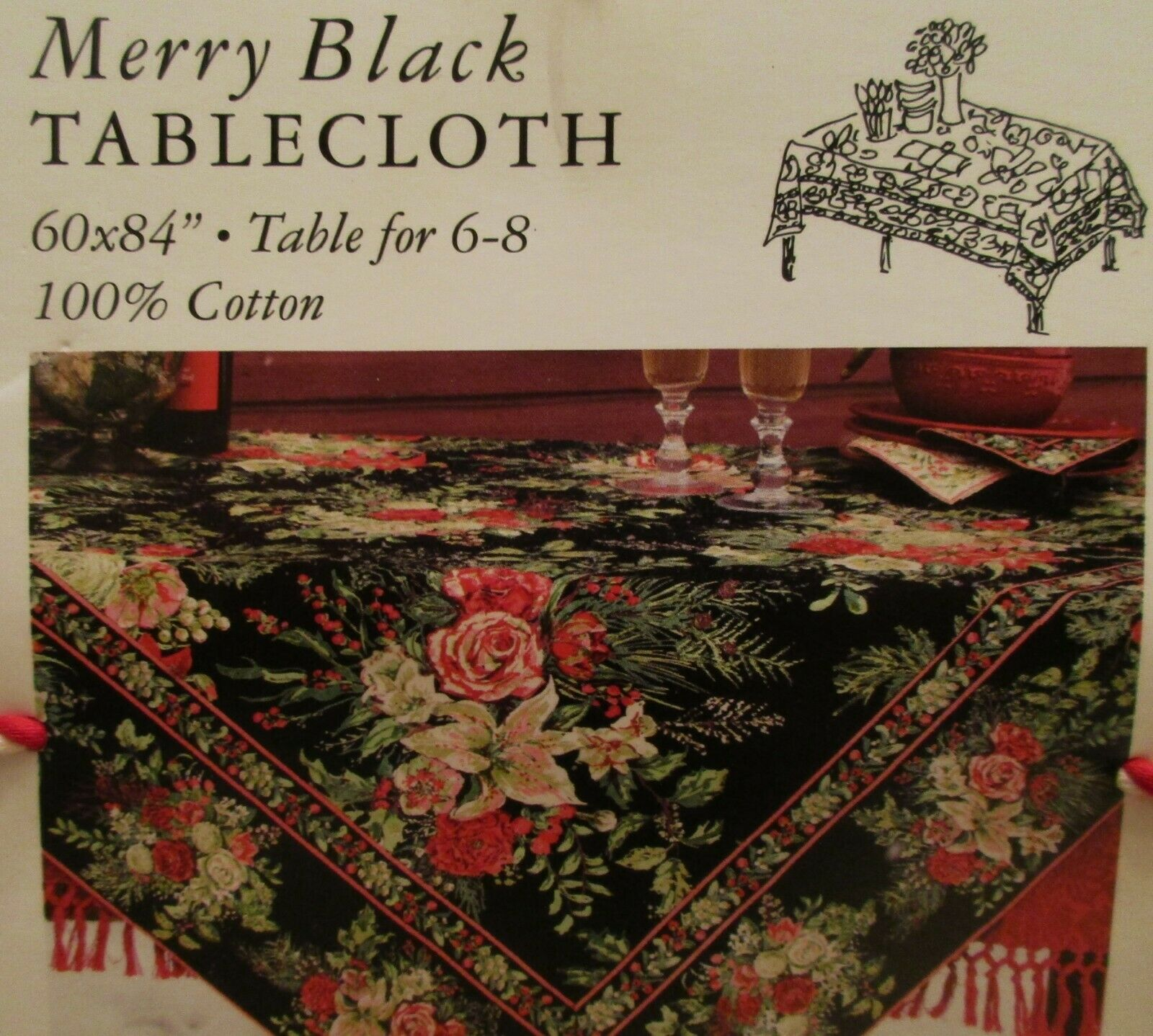 Badgley Mischka Tablecloth Black And White Floral 60 X 84 Oblong For Sale Online Ebay