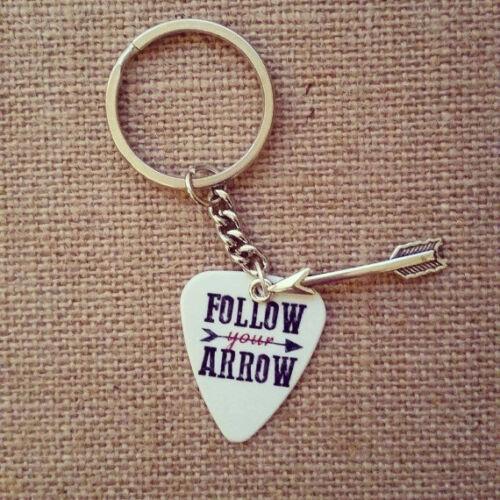 Follow your arrow wherever it points guitar pick keychain with arrow charm cute
