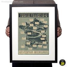 Tour de France 1949 Grand Tour Vintage Cycling Route Map Velo Poster Print