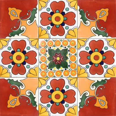 "9  Decorative Talavera Mexican Clay Tile 4x4/"" C099"