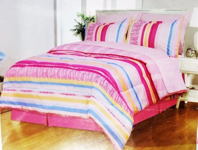 Girls Pink Striped Full Comforter Sheet Set Reversible Shams Bedskirt 8pc New