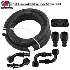 10feet 58 Braided Fuel Oil Line 10an Push Lock Fitting Hose Separator Clamp Kit