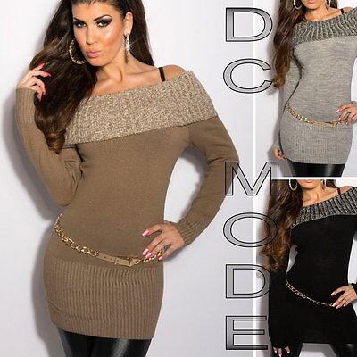 SexY Minikleid Strickkleid Longpulli Pullover Carmen GY66